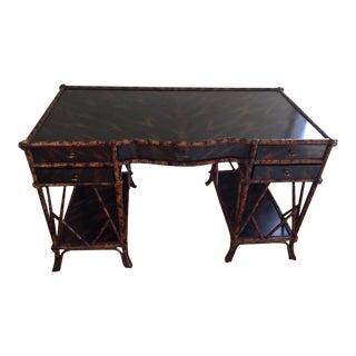 Hollywood Regency Maitland Smith Mottled Bamboo Partner Desk For Sale