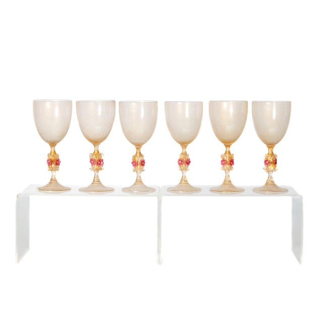 Murano Amber Glass Wine Goblets From Italy For Sale - Image 13 of 13