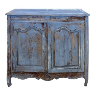 19th Century French Country Distressed Blue Painted Finish Oak Cabinet