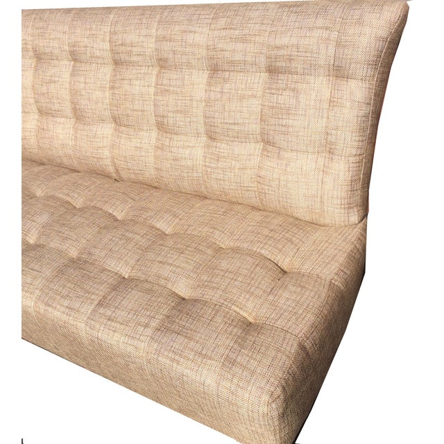 Brand New Custom Made Biscuit Tufted Sofa Settle With Leather Trim For Sale - Image 4 of 10