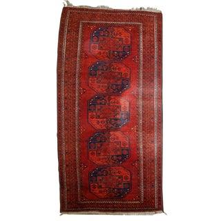 1950s Vintage Afghan Ersari Rug- 3′8″ × 7′6″ For Sale