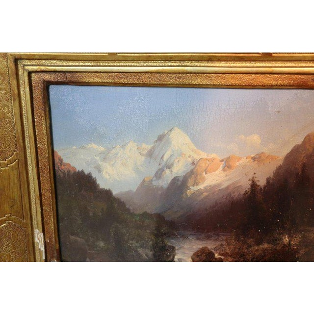 Italian Oil Painting Mountain Landscape With Golden Frame For Sale - Image 11 of 13