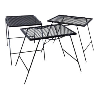 Wrought Iron Nest of Woodard Outdoor Tables For Sale