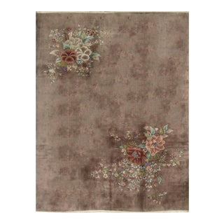 Contemporary Hand Woven Brown Floral Rug - 9'0 X 11'9 For Sale