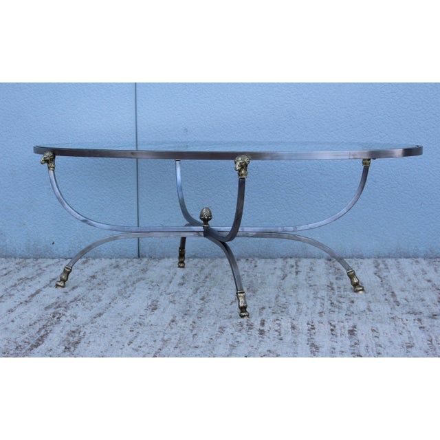 Metal Steel and Brass Rams Head Oval Italian Coffee Table For Sale - Image 7 of 13
