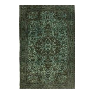 Distressed Aqua and UmberTurkish Carpet | 6'2 X 9'5