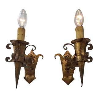 Antique French Gilded Wrought Iron Torch Sconces - a Pair For Sale