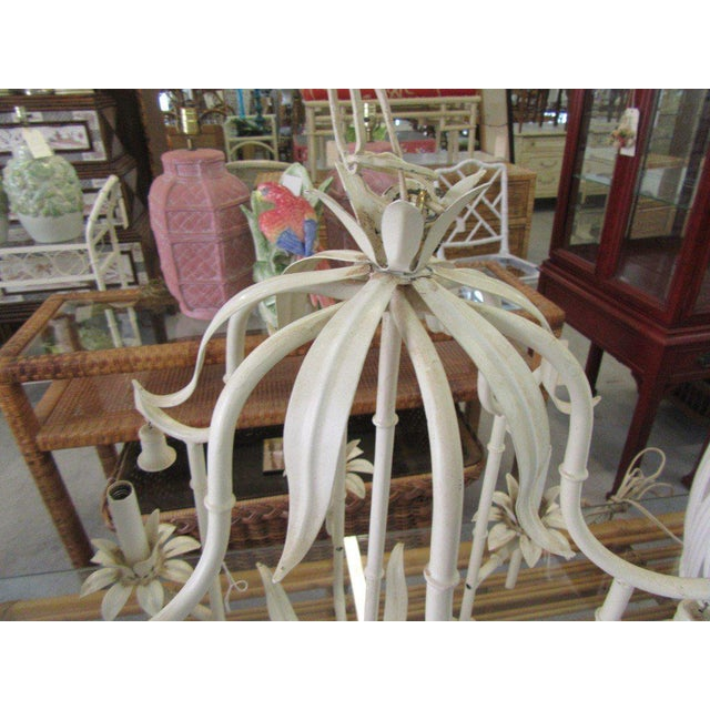 Late 20th Century Palm Beach Faux Bamboo Chandelier For Sale - Image 5 of 7