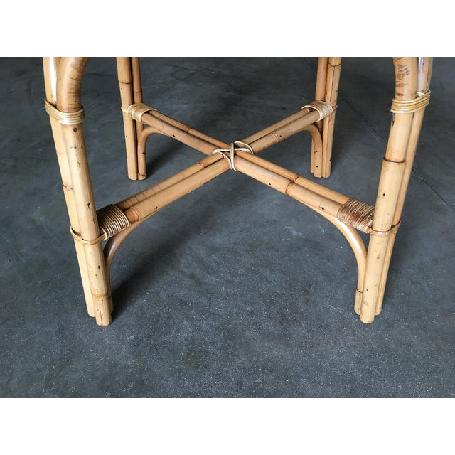 "Restored Large Round ""X"" Base Rattan Coffee Table With Oak Top For Sale - Image 4 of 6"