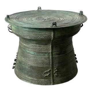 20th Century Vintage Bronze Rain Drum Side Table For Sale