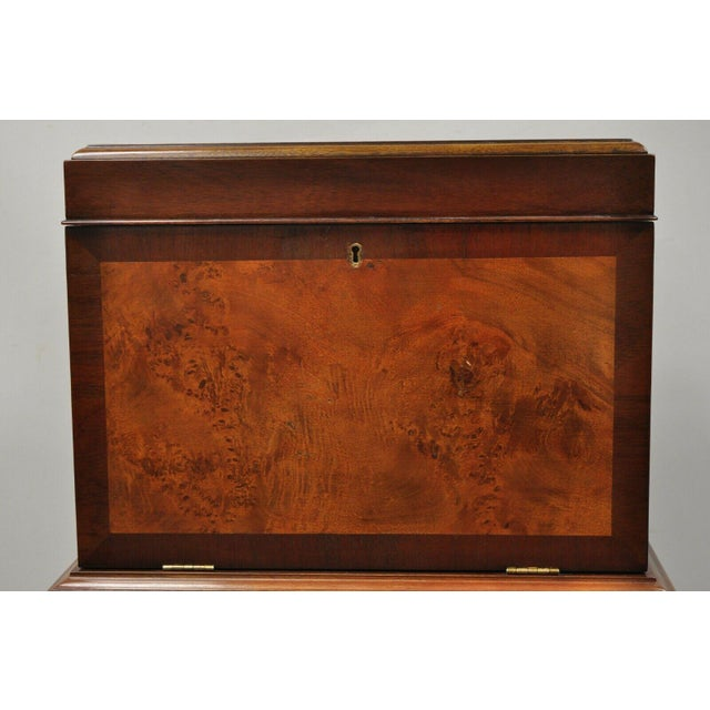 Queen Anne Hickory Chair Co. Mahogany & Burlwood Queen Anne Silverware Silver Chest For Sale - Image 3 of 13