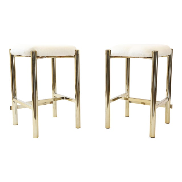 Vintage Cal-Syle Brass Bar Stools - A Pair - Image 1 of 7