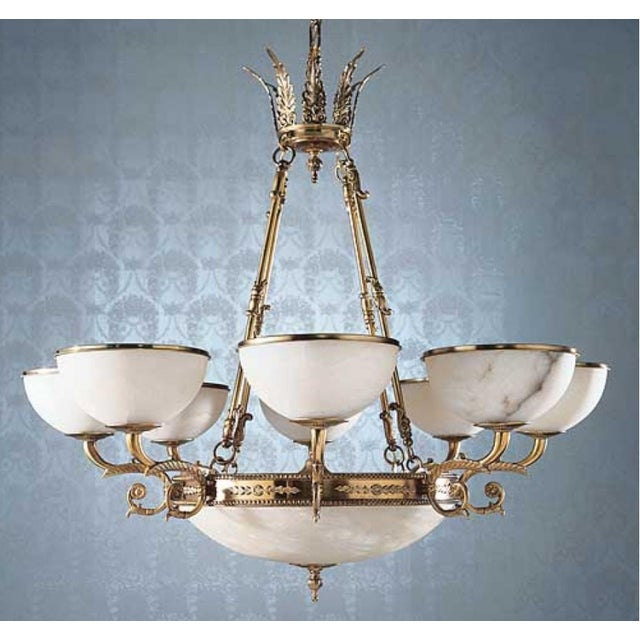 Metal Myran Allen Luxury Lighting Neoclassical Style Cast Bronze Alabaster Chandelier For Sale - Image 7 of 7