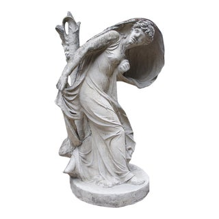 Woman Frightened by Lightning That Has Struck the Tree Beside Her - Cast Stone Statue Inspired by Jean-Baptiste Stouf Original For Sale