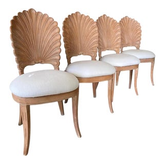 1970s Grotto Shell Back Dining Chairs - Set of 4 For Sale