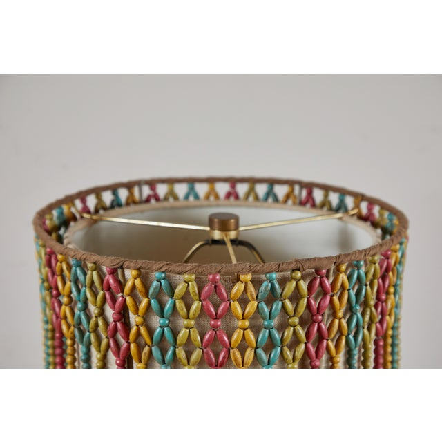 2000 - 2009 Vintage Lamp With Beaded Shade For Sale - Image 5 of 6