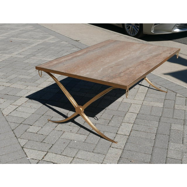 Art Deco Gilt Iron Coffee Table by Barbara Barry For Sale - Image 3 of 7