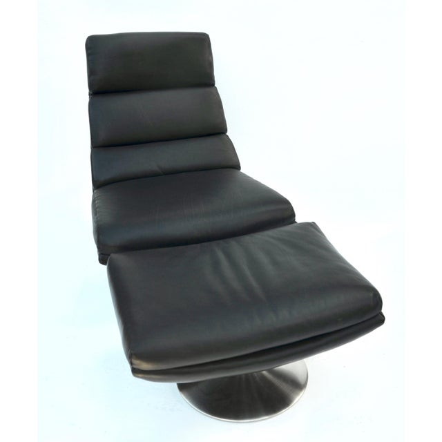 Italian Italian Leather Chair and Ottoman For Sale - Image 3 of 8