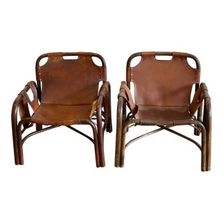 Italian Tito Agnoli Safari Chairs - a Pair For Sale