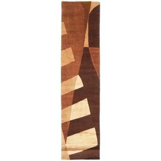 Contemporary Key Largo Design Geometric Brown Beige Wool Silk Rug- 2′11″ × 12′ For Sale