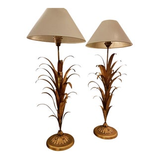 Mid-Century Modern Gilt Metal Wheat Sheaf Lamps With New Beige Shades - A Pair For Sale