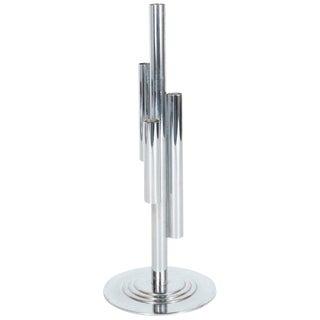 Art Deco Machine Age Skyscraper Style Chrome Vase by Walter Von Nessen For Sale