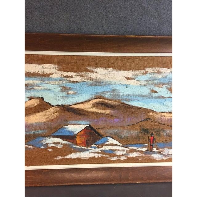 Mid Century Modern Burlap Painting by Levente Kovacs For Sale - Image 9 of 11