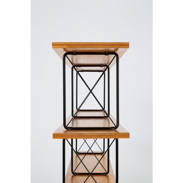 Modernist Mahogany Bookshelf With Black Wire Frame For Sale - Image 11 of 13