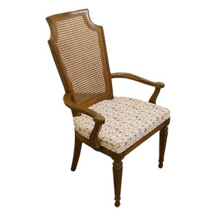 Drexel Furniture Italian Neoclassical Cane Back Dining Arm Chair For Sale