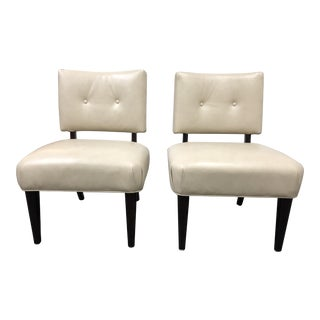 Pair of McCreary Cream Armless Occasional Chairs For Sale