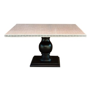 Black and White Inlay Square Table For Sale
