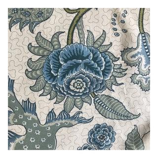 "Cowtan & Tout ""Shiraz"" Aqua Paisley Medallions Linen Fabric For Sale"