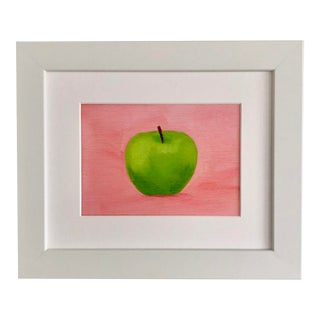 Green Apple on Pink Framed Print For Sale