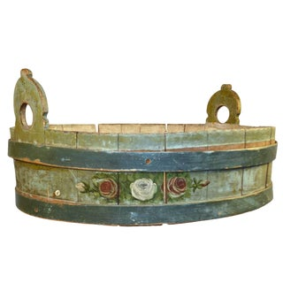 19th Century Round Painted Wood Container From Alsace For Sale