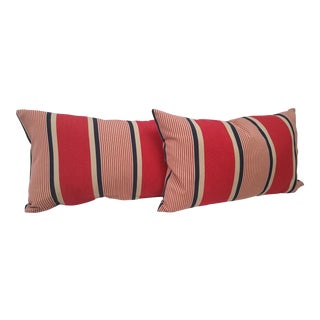 Striped Bolster Pillows - A Pair For Sale