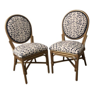 Gold Painted Rattan Matisse Side Chairs by Society Social. Upholstered Back and Seat. Brunschwig and Fils Les Touches Blue Fabric. Blue Welt. For Sale