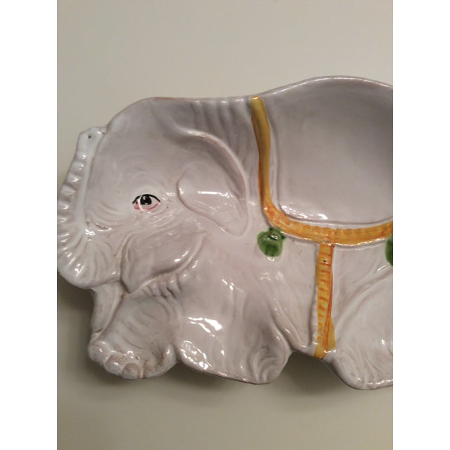 1970s Italian Hand Painted Pottery Elephant Bowl For Sale - Image 5 of 7