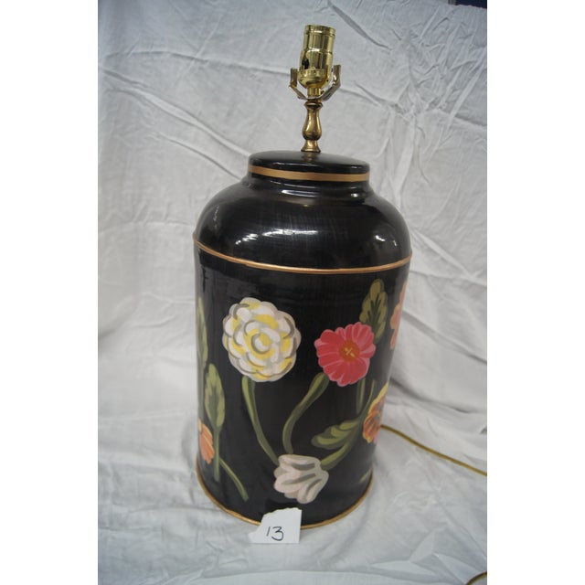 Dana Gibson Floral Tea Caddy Lamp - Image 2 of 4