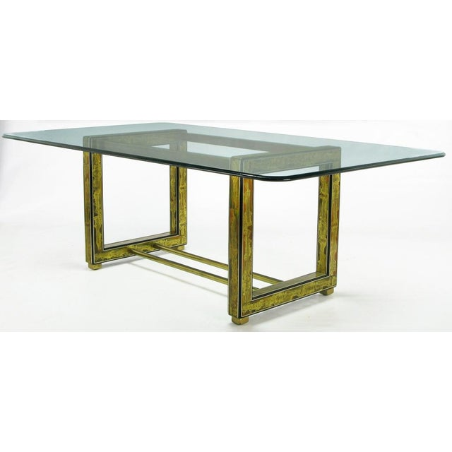 Geometric shaped Mastercraft dining table base in black lacquered wood with Bernhard Rohne acid etched brass panels. Each...
