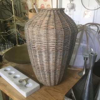 Vintage Mid Century Modern Urn Shaped Wicker Basket Preview