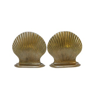 Brass Scallop Shell Book Ends, a Pair For Sale