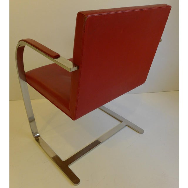 Animal Skin Vintage Pair of Knoll Brno Chairs in Red Leather For Sale - Image 7 of 9
