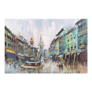 'European Cityscape', Large Oil Painting by Van Bergen, 1960's For Sale