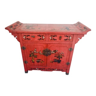 1950s Asian Red Credenza Cabinet For Sale
