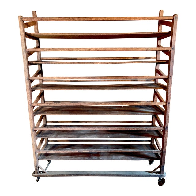 Vintage Wood Bakery Bread Rack For Sale