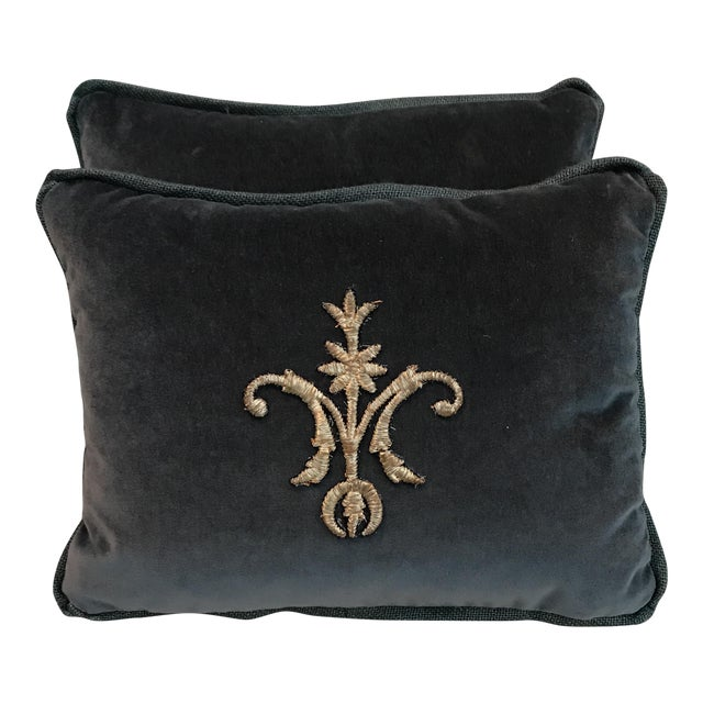 Metallic Silver Appliqué Velvet Pillows - A Pair - Image 1 of 5