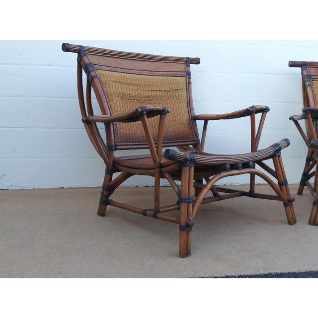 Late 20th Century Asian Style Mandalay Rattan Club Chairs by Marge Carson With Rawhide Accent Bindings and Metal Accent Caps - a Pair For Sale - Image 5 of 12