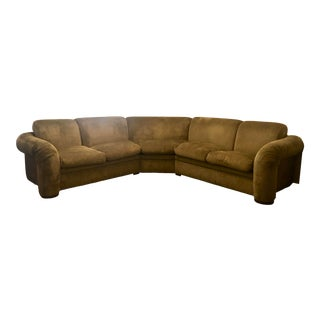 Olive Green 3 Piece Sectional From 80s For Sale