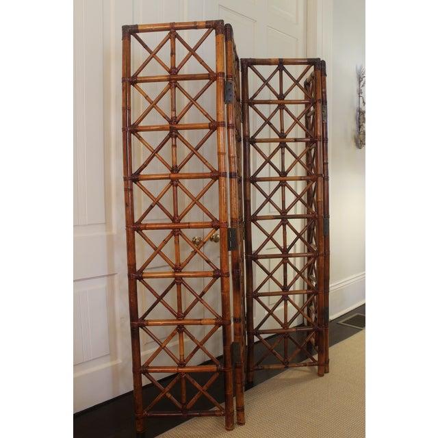 Asian Vintage Bamboo Rattan Folding Room Divider For Sale - Image 3 of 12