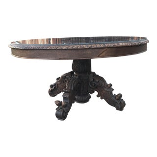 19th Century Jacobean Ornate Hand Carved Tigerwood Oval Accent Table For Sale